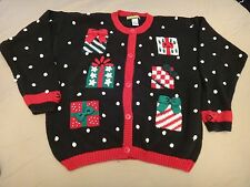 Free Ship!  Ugly Christmas Sweater Womens L Tacky Party Winner Snowball Cardigan