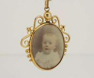 Chester Edwardian Antique 9ct Gold Double Sided Photo Picture Locket Super NICE1