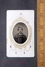 Antique Tintype Photo Civil War Sailor in Uniform Under Paper Frame with Stamp