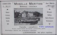 PUBLICITE MOSELLE MARITIME BATEAUX COLONIAUX CANOE CANADIEN DE 1929 FRENCH AD