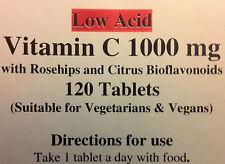 Vitamina C (baja acidez) 1000mg Con Rosa Mosqueta & los bioflavonoides cítricos 120 Vegano Pestañas