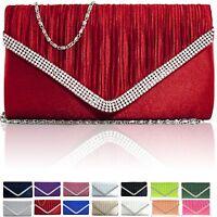 New Ladies Evening Bridal Diamante Women Clutch Bag Satin Party Prom Envelope UK