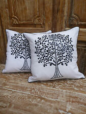 Cotton Cushion Covers White Black Tree of life Embroidery (pair) 40cm