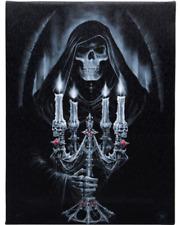 Anne Stokes Candelabra Grim Reaper Canvas Wall Plaque Sign 25cm X 19cm