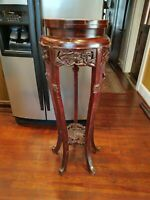 """Antique Carved Chinese Hardwood Marble Plant Stand Table 44 3/4"""" Tall X 16"""" Wide"""
