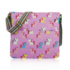 Cute Colourful Pink Unicorn Canvas Cross Body School Messenger Bag Birthday Gift