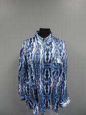 AK ANNE KLEIN Blue White Polyester Button Down Sheer Long Sleeve Blouse EE6380
