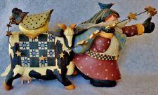 """1998 Williraye Studio Santa Cow Star Garland Chicken Quilt Figurine 7"""" Folk Art"""
