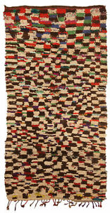 Tribal Moroccan Rug in Cream, Brown, Red, Green, Yellow, and Blue BB5135