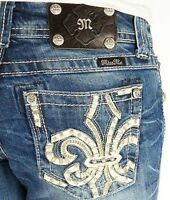 Womens Miss Me Jeans Low Rise Chain Trim Fleur Bootcut Stretch Jean 25 X 29