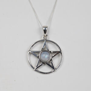 The Hippy Clothing Co. - 925 Silver Pentagram Moonstone Star Pendant Necklace