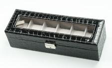 Display Box Jewelry Storage Organizer 6 Slot Pillow Leather Watch