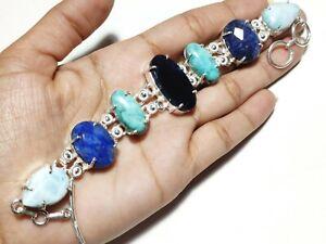 Natural Lapis Lazuli Larimar Gemstone Handmade Fashion Jewelry Silver Bracelet