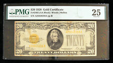 US 1928 $20 Gold Certificate Currency Note PMG VF 25 AA Blk Woods/Mellon