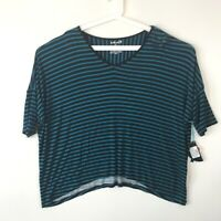 Modern Movement Womens Large Knit Top Black Teal Striped Oversized Yoga T-Shirt