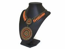 Signed Latasia Medallion Necklace Orange Golden Brown Brass Boho Tribal Festival