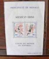 """FRANCOBOLLI MONACO 1986 """"MONDIALI DI CALCIO - SPORT"""" MNH** BLOCK (CAT.SC)"""