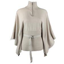 KAREN MILLEN 83% Pure Wool Greige Beige Polo Zip Neck Belted Poncho Jumper 14