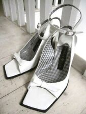 PATRICK COX Lovely White Sandals w Triangular Heels 37 (UK4) Used Only Twice