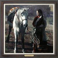 """Hand painted Original Oil Painting art chinese Tibet girl horse on canvas 30x30"""""""