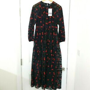 ZARA Black Maxi Red Embroidered Floral Dress Gothic Size XS Self Portrait NWT