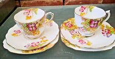 PAIR OF ROYAL ALBERT CLEMATIS 1930 1940S PRETTY FLORAL TRIOS IN GOOD CONDITION