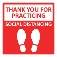 THANK YOU FOR PRACTICING SOCIAL DISTANCING - RED | Adhesive Vinyl Sign Decal