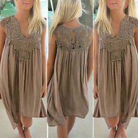 UK Womens Lace Embroidery Summer Loose Casual Beach Bikini Cover Up Swing Dress