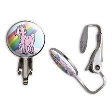 Pink Unicorn on Cloud - Rainbow Pony Clip-On Stud Earrings