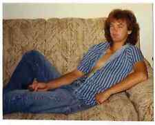 Vintage 80s Photo Young Man Guy w/ Long Hair & Open Shirt on Couch