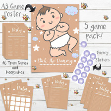 Baby Shower 5 Game Party Pack - 10 Player - NEW Kraft - Unisex Boy Girl - Bingo