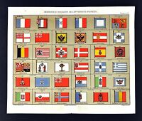 1877 Bouillet Atlas Print Flags of Europe France Germany England Italy Spain