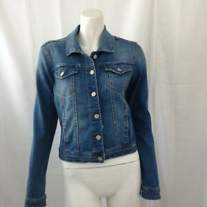 Kensie Jeans Womens Cropped Blue Denim Jacket XS