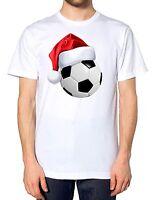 Football Christmas Santa Hat T Shirt Sportsman Festive Party Novelty Joke Gift