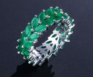 18k White Gold GF Eternity Ring made w/ Swarovski Green Emerald Anniversary Band