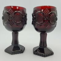 "Lot O 2 Vintage Avon 1876 Cape Cod ""WATER GOBLET / CANDLE HOLDER"" Ruby Red Glass"