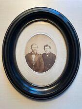 Altes Foto Vater und Sohn 10 cm x 8 cm im ovalen Holzrahmen