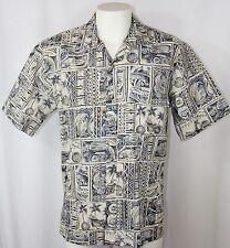 Harley Davidson Hawaiian Button Front Shirt Tan Motorcycle Logo Print Men M