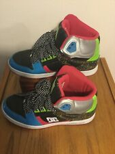 DC Women's size 9 Rebound Hi Skateboard Shoes Leather Pink-Green-Blue #302164