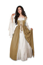Renaissance Medieval Irish Costume Beige Over Dress ONLY Fitted Bodice L/XL