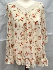 Topshop Floral Crocheted Lace 3/4 Sleeves Top Blouse Size 12