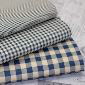 Kent 2 Vintage Gingham Fabric  Vintage Navy - Cotton Rich Sewing Dress Fabric