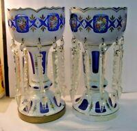 Blue Cased Glass Enamel Flowers Mantle Luster Lustre Candle Holder Prisms - 2pcs
