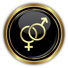 """Male Female Symbol Gold SEX Car Bumper Sticker Decal 5"""" x 5"""""""