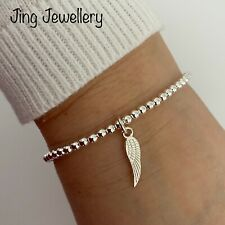 Silver Plated Beaded Angel Wing Charm Bracelet Stretch Stacking Handmade
