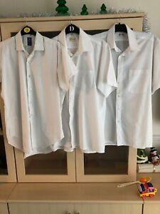 """cotton rich white short sleeve 16"""" bush shirt bundle 4 Security pilot"""