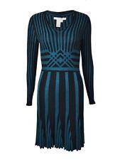 NWT Studio M Women's Black & Teal V-Neck Ribbed Sweater Dress SZ M