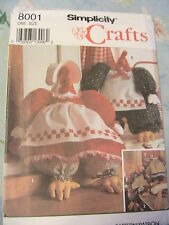 STUFFED HEN & ROOSTER~SIMPLICITY No 8001 OOP & RARE 1992 cloth art doll pattern