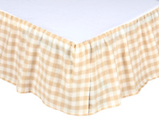 TAN BUFFALO CHECK King BEDSKIRT : COUNTRY COTTAGE BEIGE ANNIE PLAID DUST RUFFLE