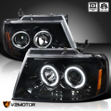 Jet Black 2004-2008 Ford F150 LED Halo Projector Headlights Clear Lens Pair